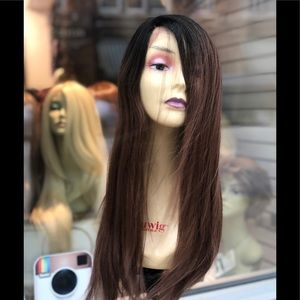Long warm brown ombré SidePart Long Lace Wig